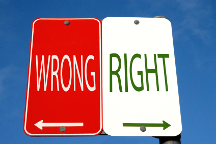 Right and wrong photo